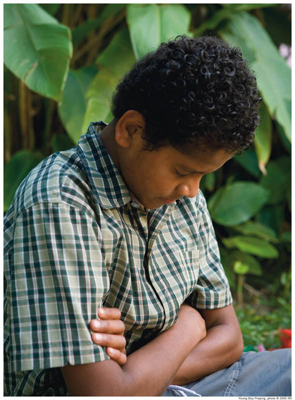 We can avoid sin more easily if we talk often to God.Mormon Boy praying.